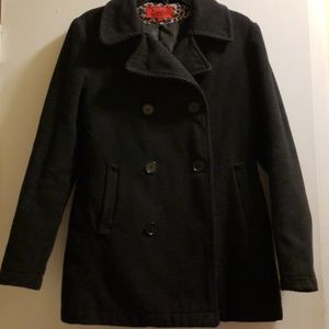 Excelled Collection Black Wool Peacoat